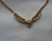 80's Goldtone Rhinestone And Faux Opal Necklace