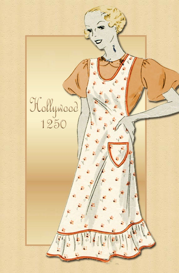 Hollywood 1250 Vintage 1930s Apron Pattern Two Styles Full Bib