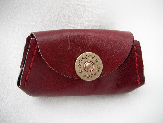 Red Leather Coin Purse - Lined - Shotgun Shell Snap