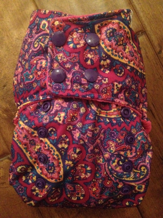 One-Size Pocket Style Cloth Diaper: Pink Paisley Print