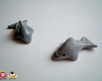 Miniature Clay Dolphin, grey, gray, mini animal, polymer clay animal, miniature dolphin, small, tiny, little, dollhouse miniature, iammie