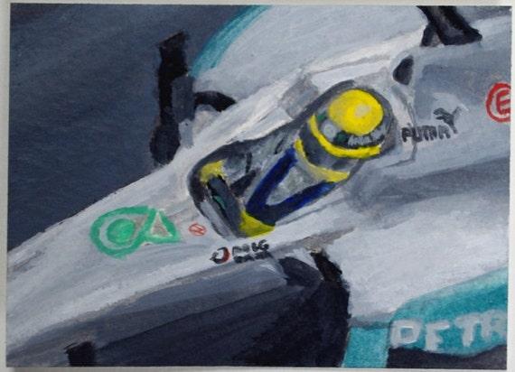 F1 ACEO Painting: Nico Rosberg - Original Automotive Art