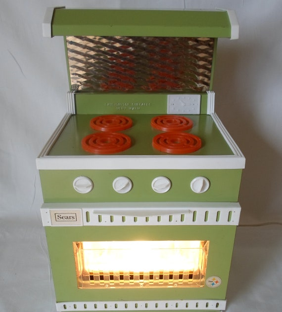 Vintage Sears Junior Chef Steel Stove with Stainless Backsplash and Hood  Easy Bake Like Oven Avacado Green Orange  White Childs Stove Toy