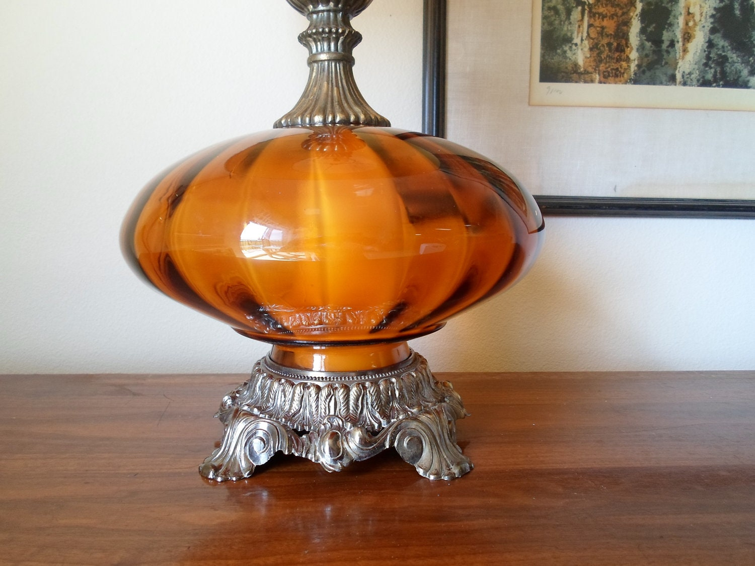 Vintage 1971 L Amp Lwmc Hand Blown Orange Glass Table Lamp And