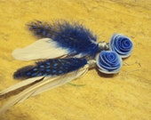 Queen of the Ocean Rose Feather Earrings