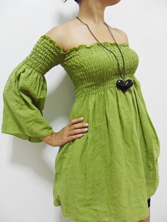 Women Blouse / Women Top /Sexy....Lady  Green cotton shirt (Free Shipping)