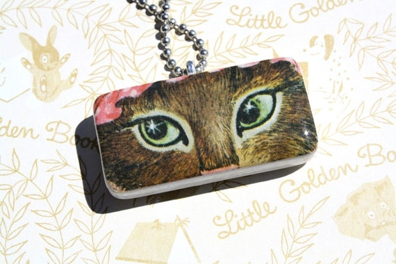 Owl and the Pussy Cat, Upcycled Golden Book, Domino Pendant