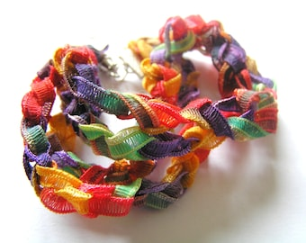 Rainbow Colored Tie Dye Crocheted Bracelet w Barrel Clasp