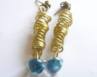 Brass Spiral Coil Post Earrings w Blue Teardrop Lampwork Glass Bead Accent