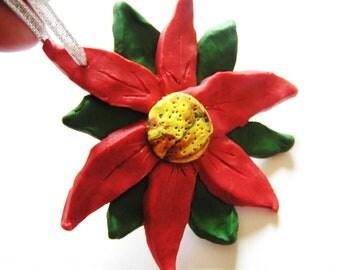 Poinsettia Inspired Handmade Flower Ornament