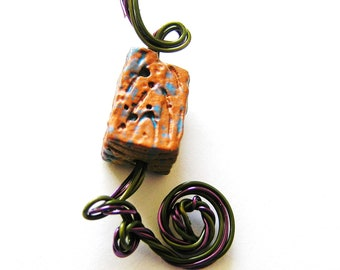 Whimsical Olive & Purple Artistic Wire w Copper and Khaki Colored Cubic Focal Bead Pendant