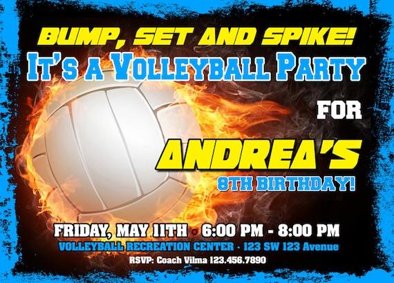 Volleyball Birthday Invitation Printable File Diy Volleyball