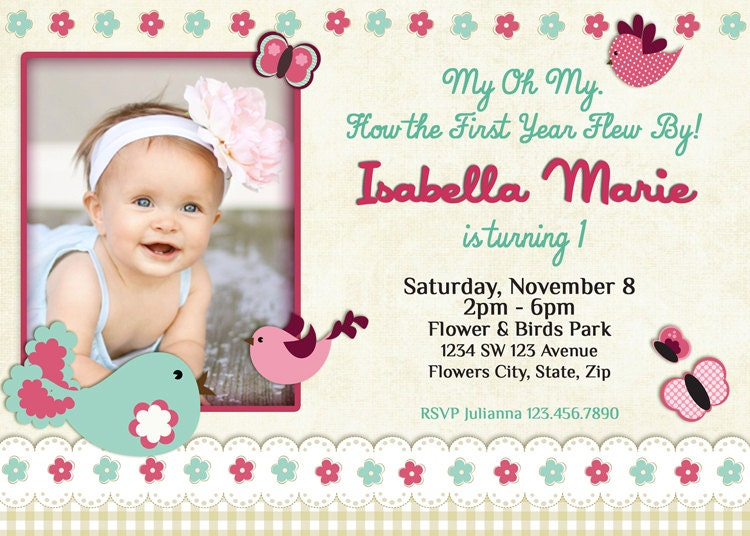Birds Invitation Birds Birthday Invitation Birds Baby - Birthday invitation for one year baby