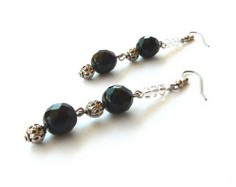 Black earrings handmade with black glass beads and transparent swarovsky crystal beads. ooak made in Italy