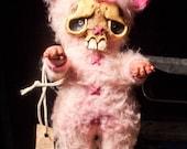 Rotten Cotton Pink Halloween zombie boy hand made doll