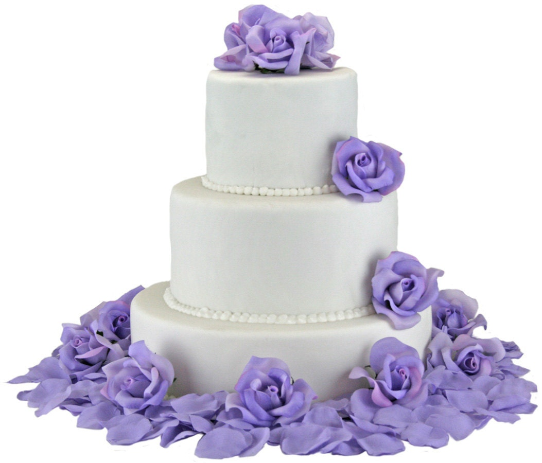 Rose Wedding Cake: Lavender Silk Rose Cake Flowers