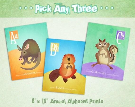 "Nursery Animal Alphabet Art  by Oddly Olive, Tiffany Holesovsky - Set of Three 8"" x 10""  Epson Paper Giclée Prints"