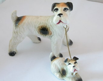 Set of Vintage English Wire HairTerrier Figurines