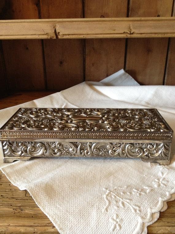Treasury Item-Vintage Silverplate Godinger Jewelry Box