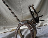 Skirdee Cat  Large recyled metal yard art  cat  lucky horseshoe cat made from upcycled horsehoes