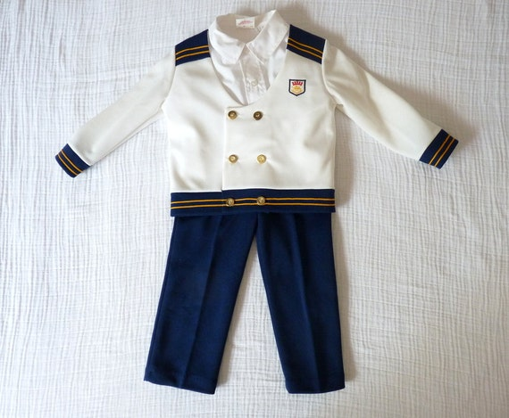 Vintage sailor outfit, 3T. Nautical captains outfit with pants, shirt and jacket.