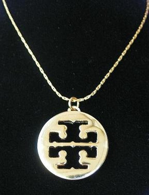 """Designer inspired gold cut-out recycled logo button pendant on 18"""" 14KT gold plated necklace chain"""