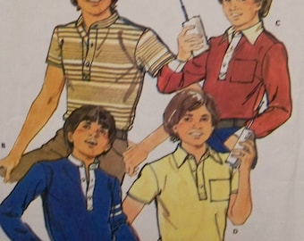 Vintage 1970's UNCUT Butterick Quick Pattern for Teen Boys' Shirt in Size 14 Designed for Moderate Stretch Knit Fabric