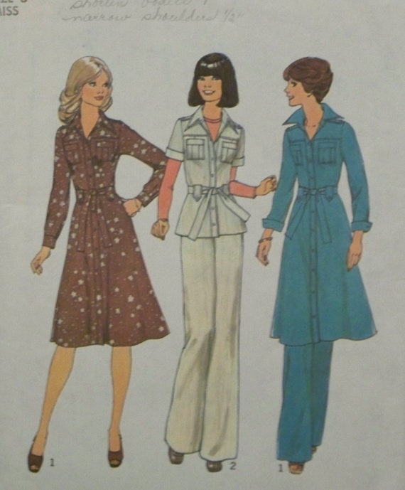 Vintage 1976 Simplicity 7649 Pattern for Misses' Dress or Top and Pants in Size 8