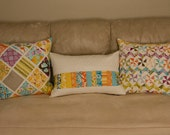 Set of three patchwork Central Park pillow covers