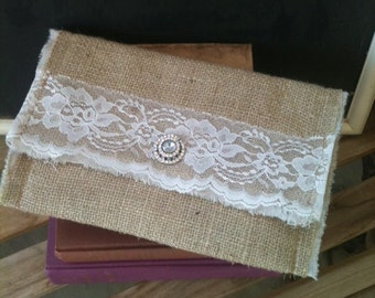 Burlap and Vintage lace clutch with vintage rhinestone