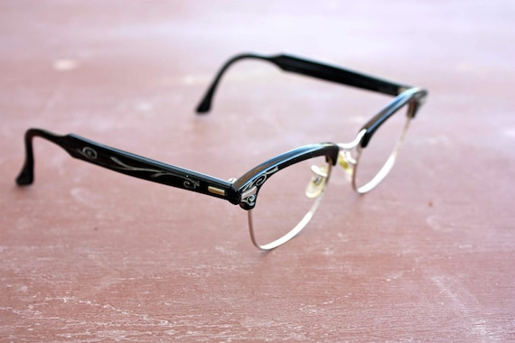 Vintage Black and Silver 50s Glasses by Shuron