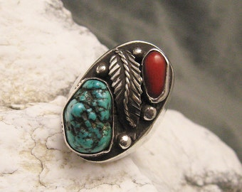 Turquoise Coral Sterling Ring Southwestern Vintage H487