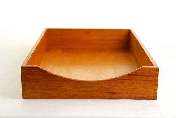 Vintage Wood Paper Tray / Organizer - Legal Size