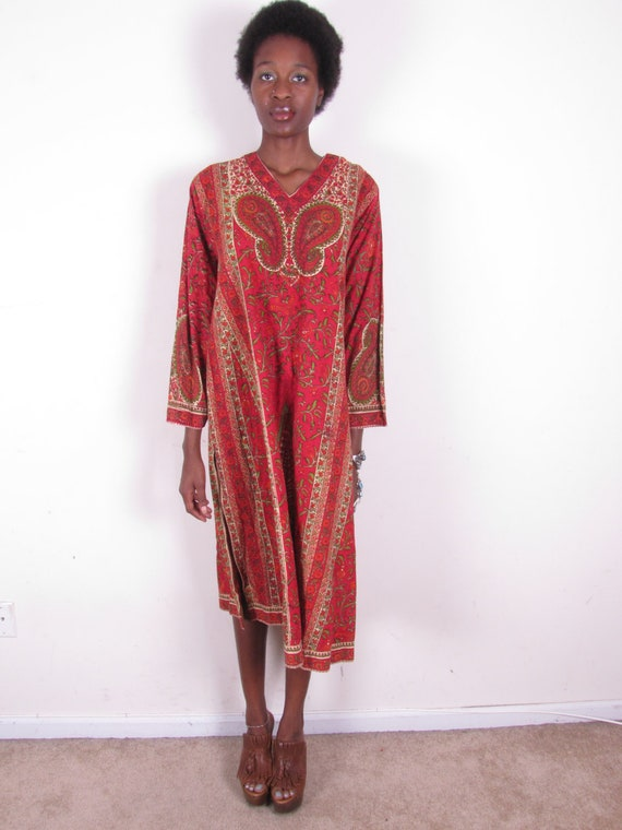 Vintage Hippie India Gauze Cotton Paisley Print Bohemian Dress