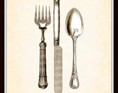 Antique Utensils in Sepia Plate 1 Home Decor 8x10 Art Print Illustration Digital Collage Interior Design