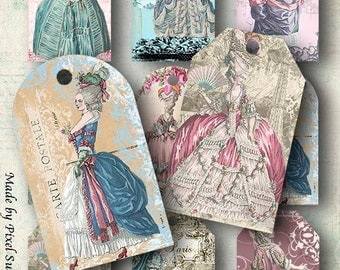 Marie Antoinette Gift Tags- INSTANT Digital Download