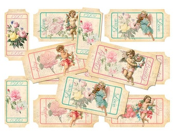 Cherub and Roses Ticket Collage Sheet - INSTANT digital download