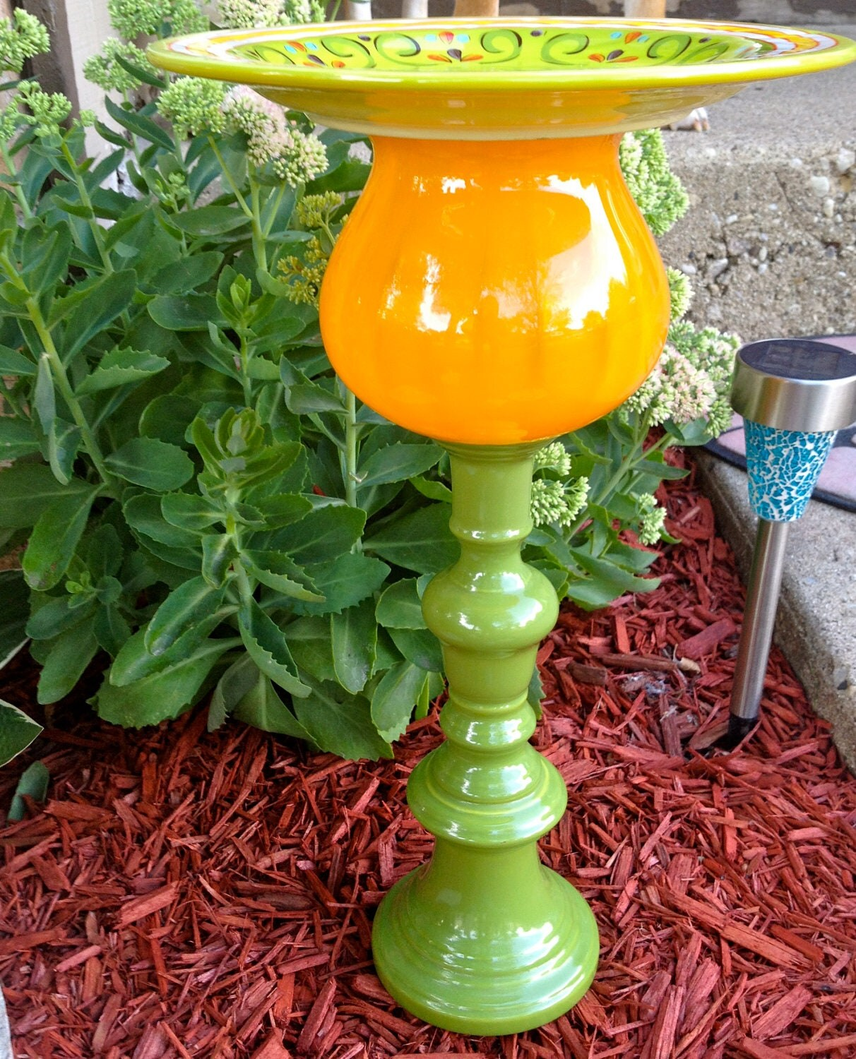 Bird Bath/Feeder-Glass Garden Totem-Garden Art-Deck & Patio
