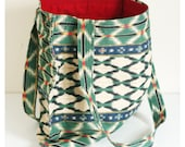 Large Quilted Tote Bag, red lining