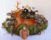 """Christmas Wreath Holiday """"Magic Deer Winter"""" Country Snow Nature Forest Woodland Owl Christmas Decor Fairy Tale"""