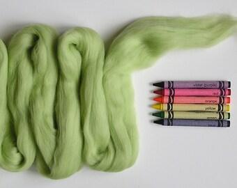 MERINO WOOL ROVING / Key Lime Green 1 ounce / needle felting fiber / spinning fiber / nuno felting / merino wool tops / wool felt / weaving