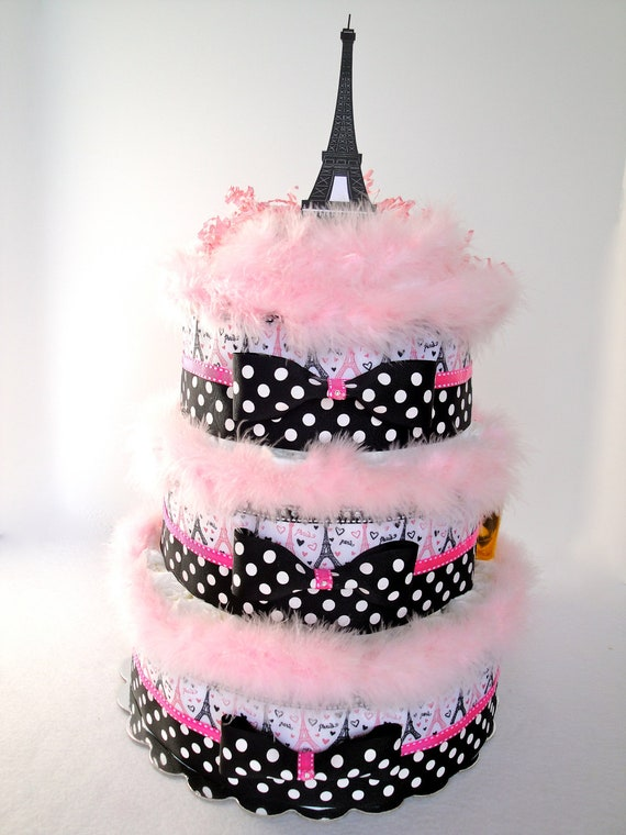 Eiffel Tower Diaper Cake by CelebrityDiaperCakes on Etsy |Eiffel Tower Diaper Cake
