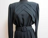 1980s Film Noir Inspired Black Long Sleeve Dress- High Neck, Shoulder Pads, Belt - Medium