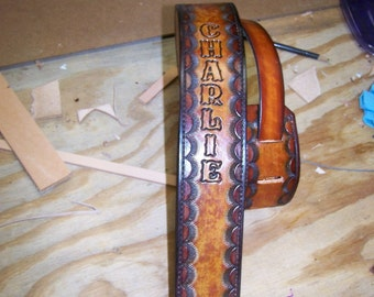 Hand Tooled Custom Adjustable Leather Guitar Strap PERSONALIZED NAME - -Sunburst Pattern