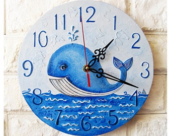 The Blue Whale Wall Clock, Modern wall clock with numbers, White wall clock, wood clock, white home decor, wedding gift, for Office.