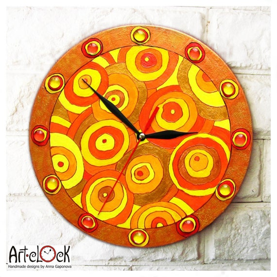 The Orange Wall Clock Home Decor Modern Clock
