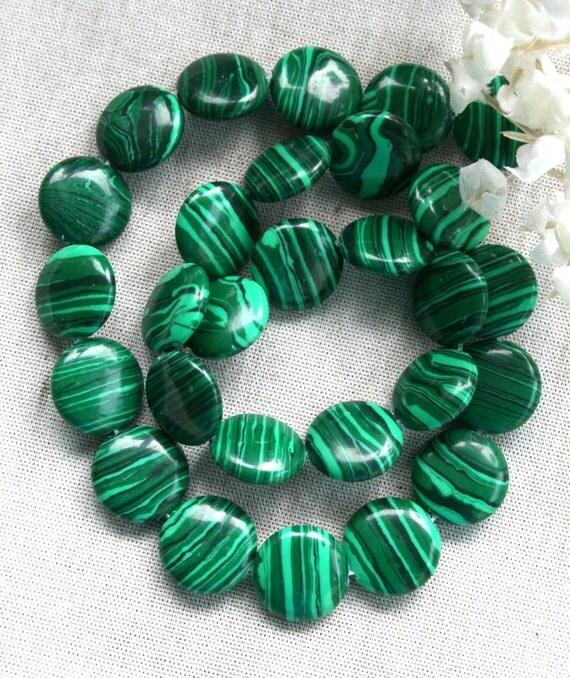 Green Malachite Round Coin Gemstone Beads