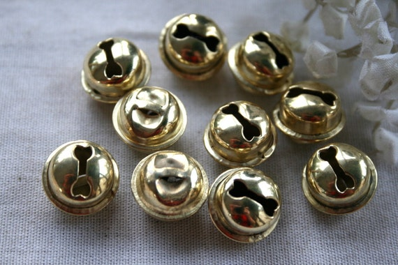 11 Gold Jingle Bells Charms/Buttons