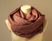 Super Warm Infinity Scarf Wool Burgundy & Ivory - Herringbone Winter Fashion-Neck warmer- Cowl - atohumcu