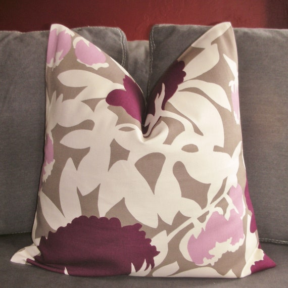ON BOTH SIDES - Pillow Cover - Decorative Pillow Cover - Throw Pillow Cover - Duralee - Plum - Mauve - 18x18 inch
